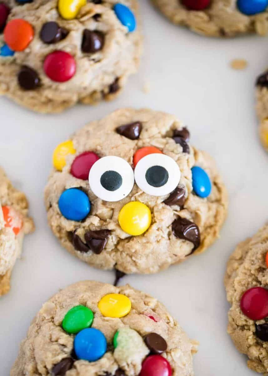 monster cookie with candy eye balls
