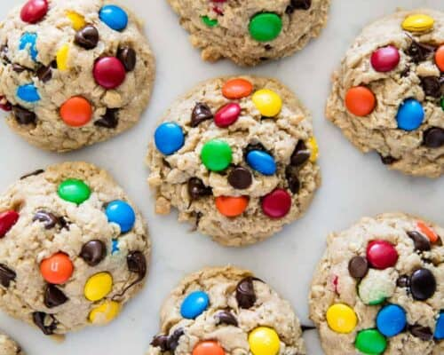 monster cookies with chocolate and m&ms