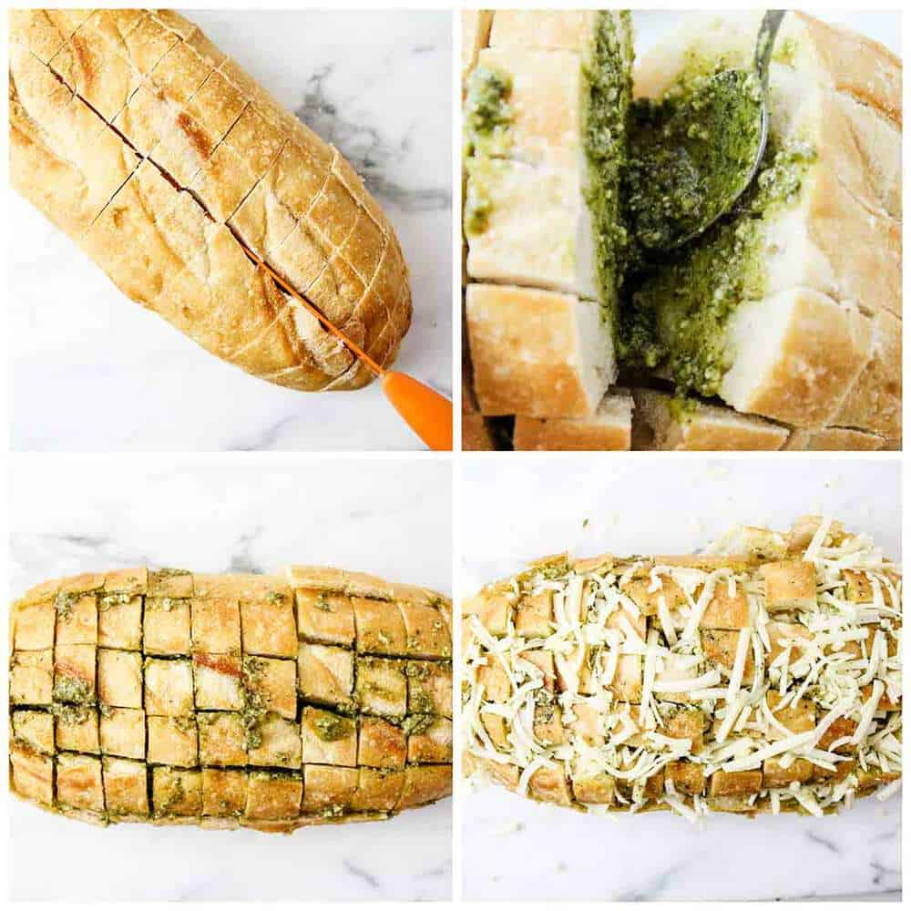 collage showing how to make cheesy pesto bread