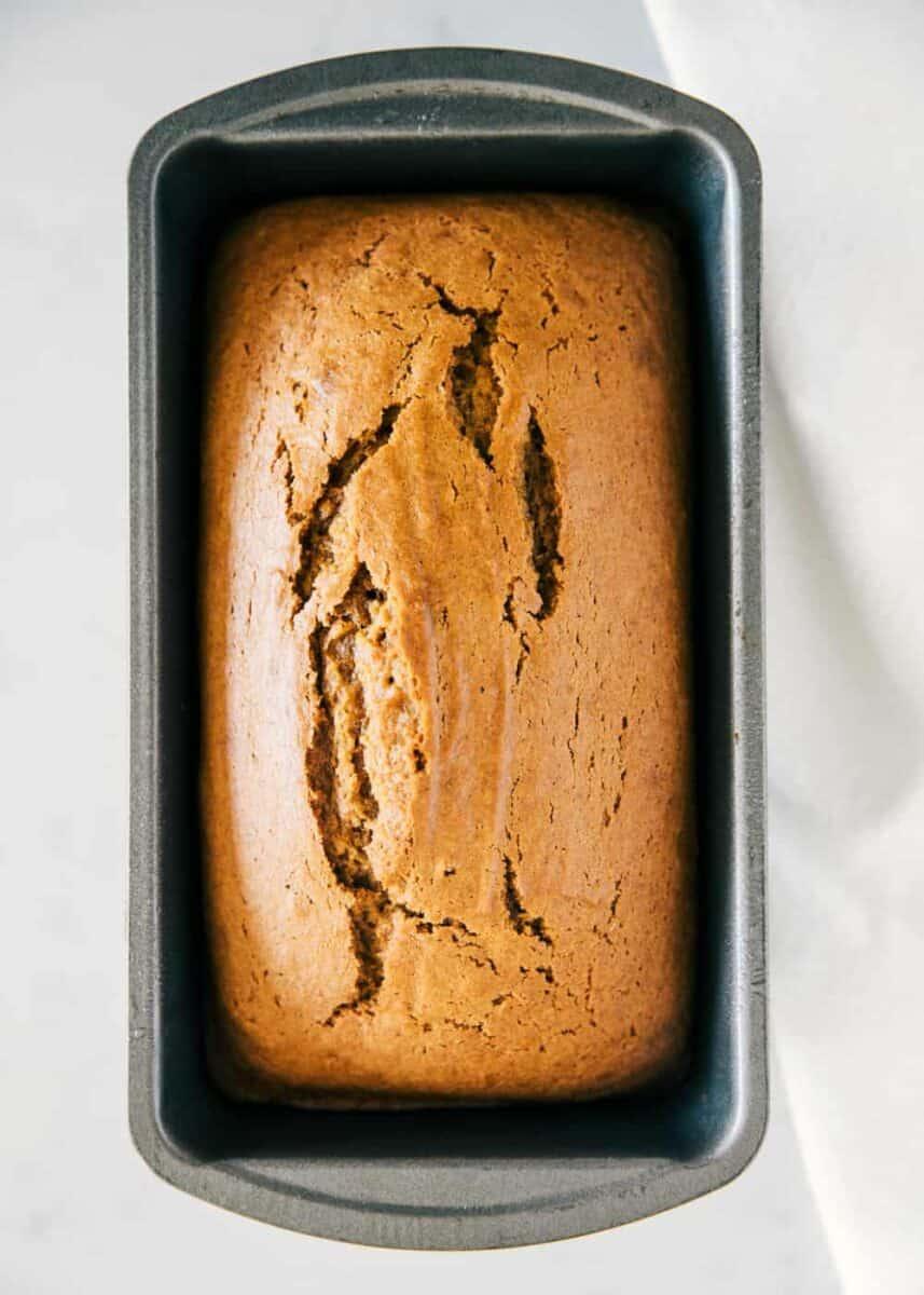 pumpkin bread loaf in pan