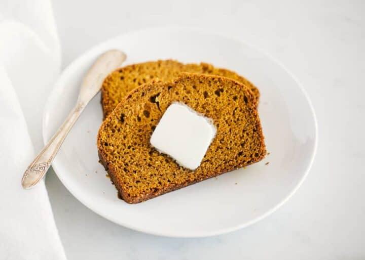 pumpkin bread with butter