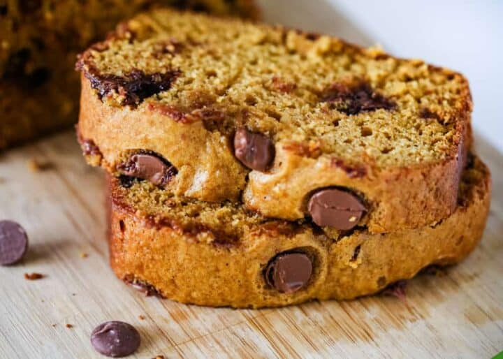 stack of sliced pumpkin chocolate chip bread