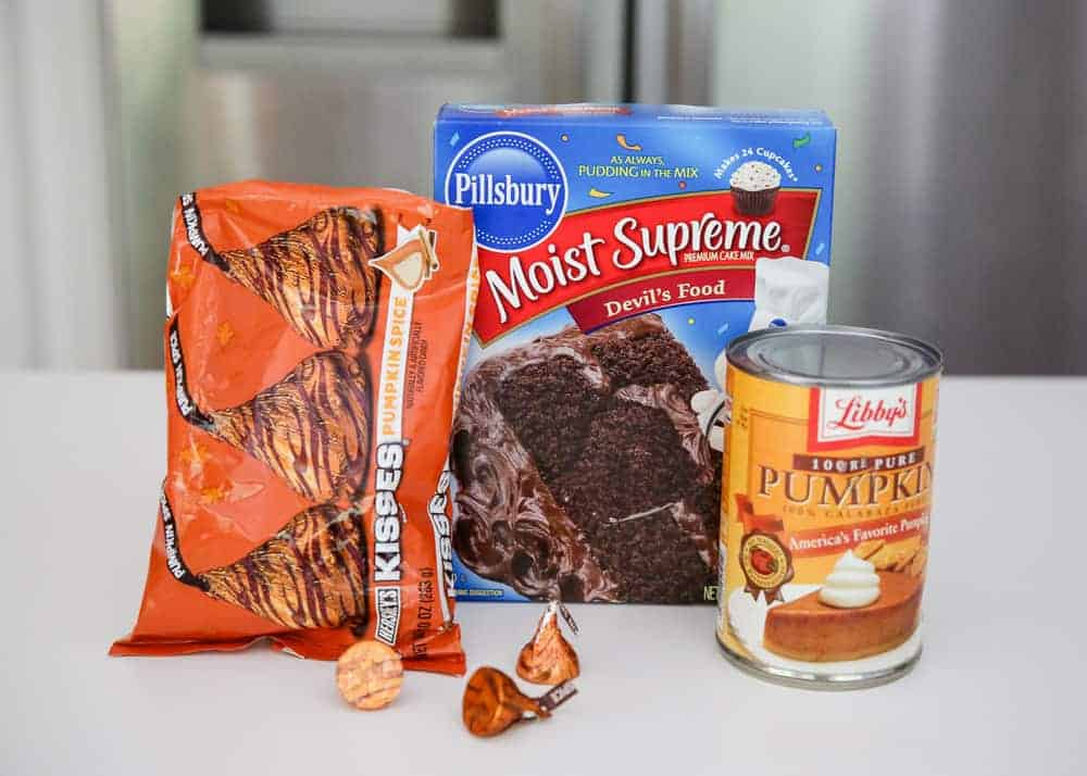 ingredients for pumpkin chocolate cake mix cookies on counter