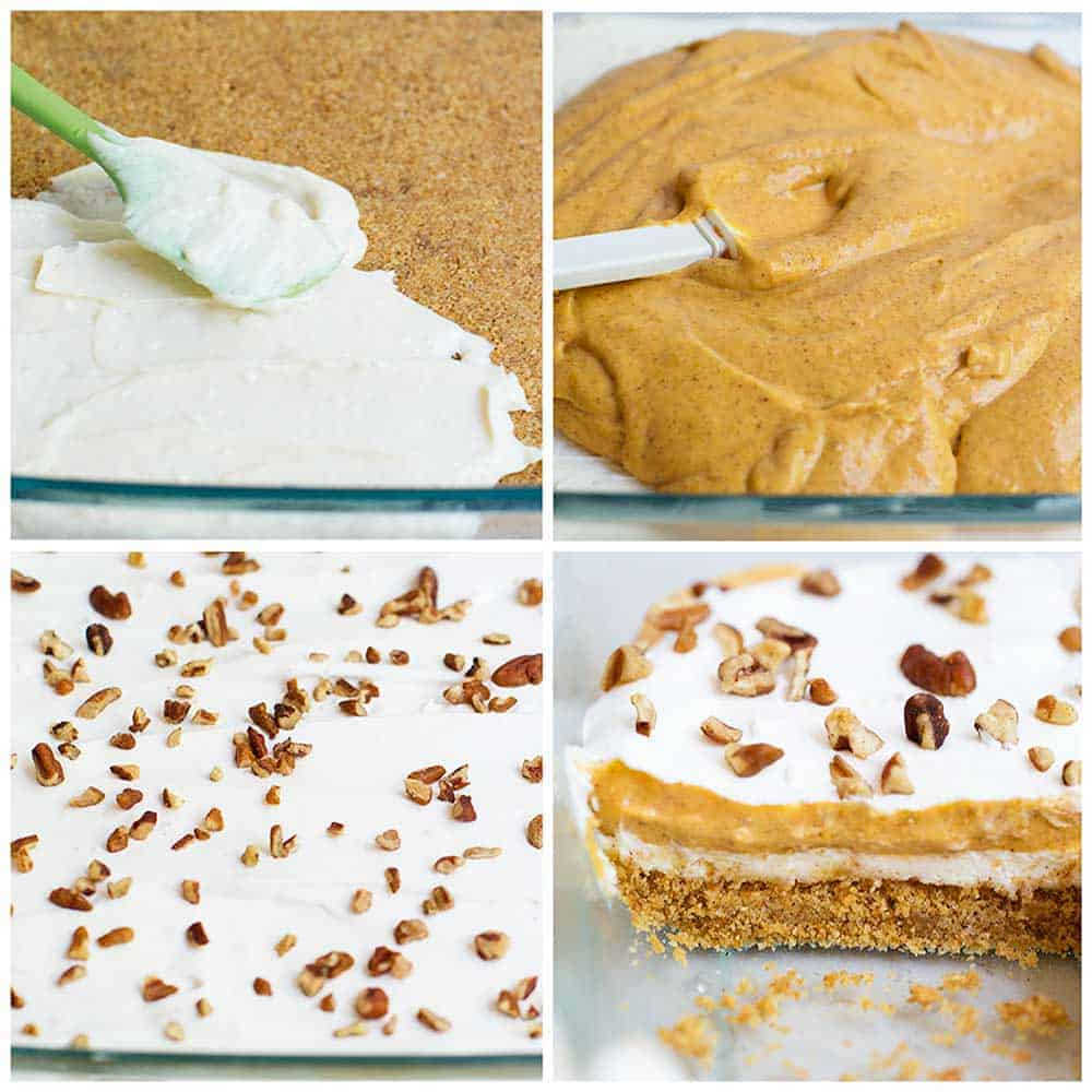collage of steps showing how to make pumpkin lasagna