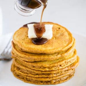 pumpkin spice pancakes with syrup