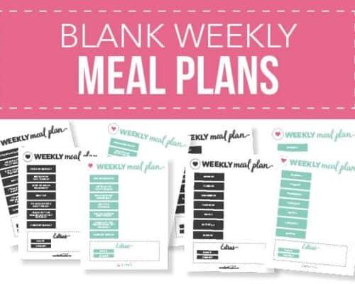 blank weekly meal plans