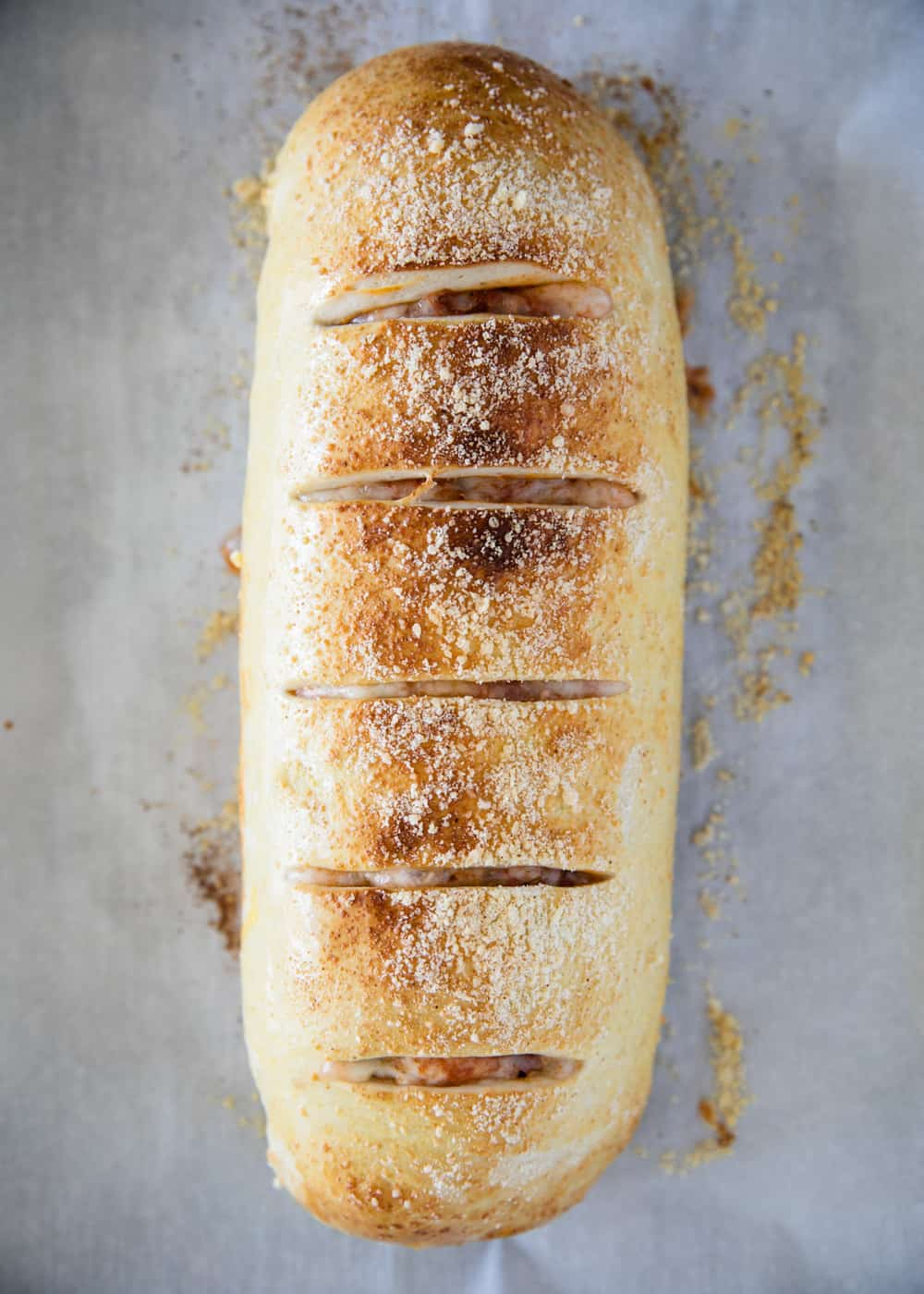 Stromboli on a baking sheet