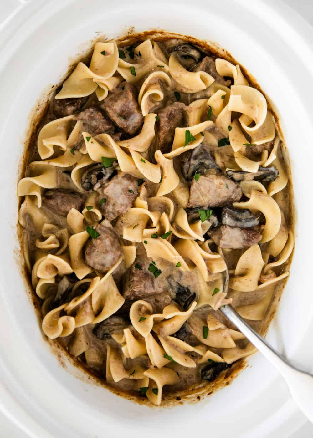 beef stroganoff in the slow cooker with egg noodles