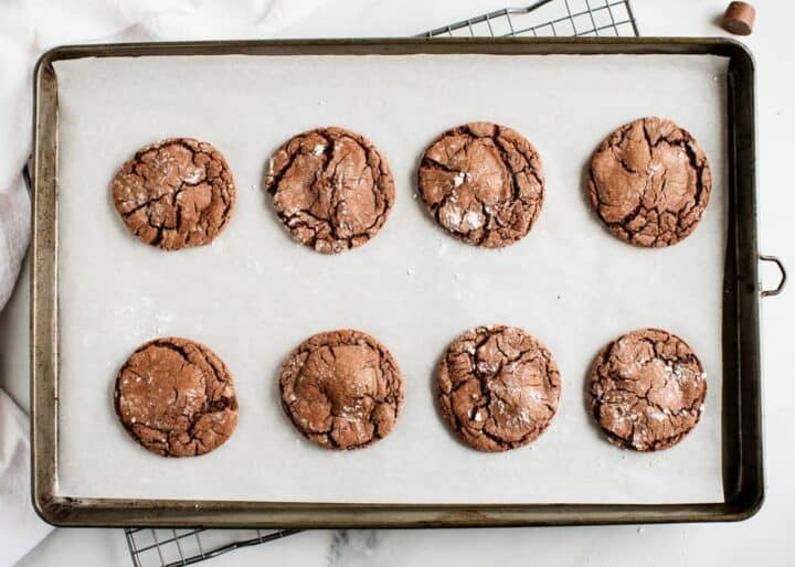 baked rolo candy cookies on a baking sheet