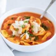 tomato tortellini soup in a bowl