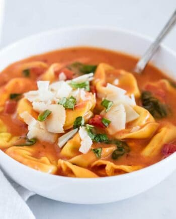 tomato tortellini soup in a bowl