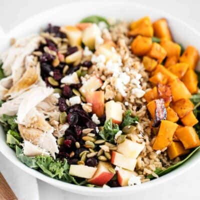 fall salad in a white bowl