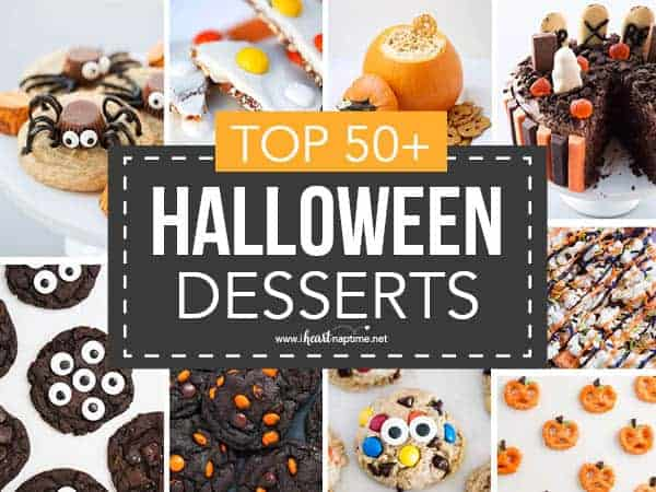 collage of Halloween desserts