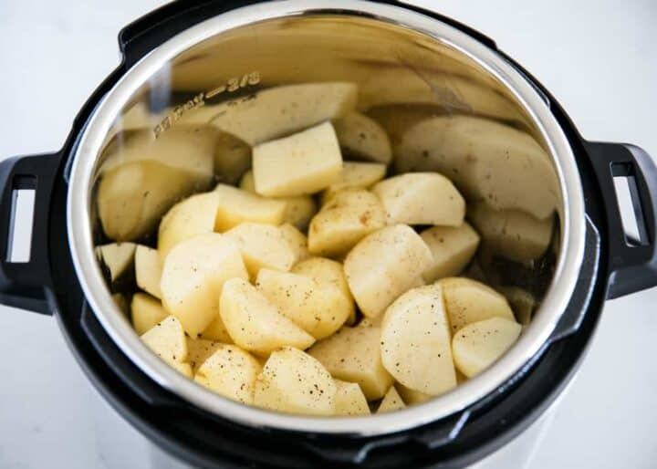 sliced potatoes in instant pot with pepper