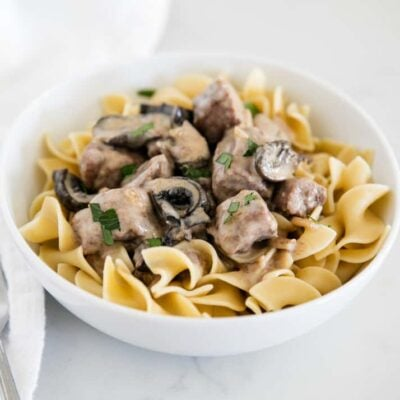 bowl of beef stroganoff served over egg noodles