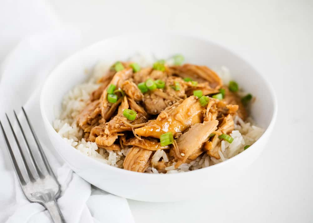 teriyaki chicken with rice in bowl
