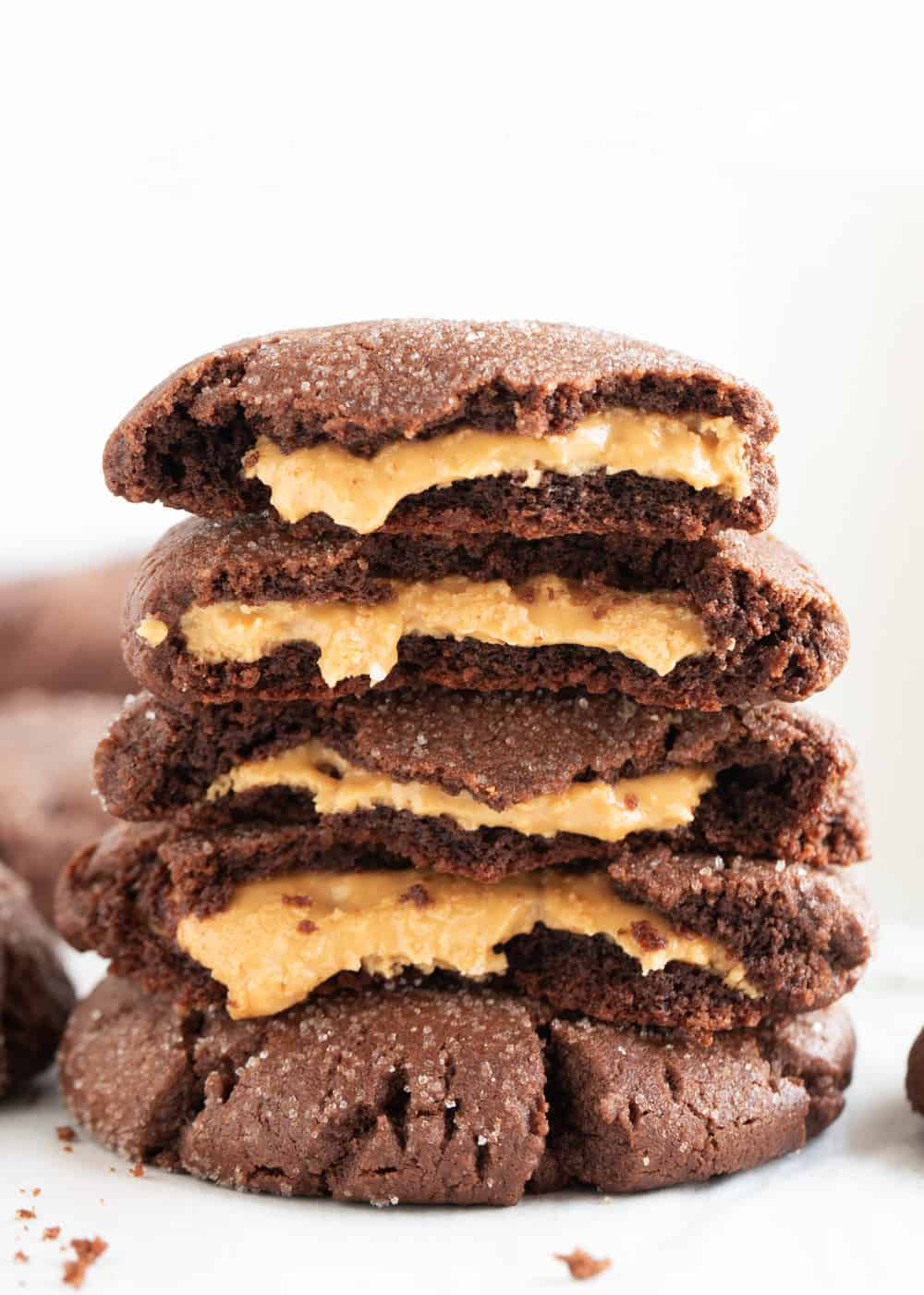 stack of chocolate peanut butter cookies