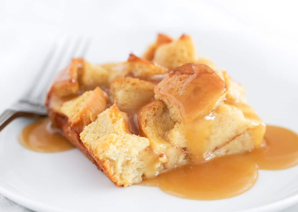 bread pudding on a white plate