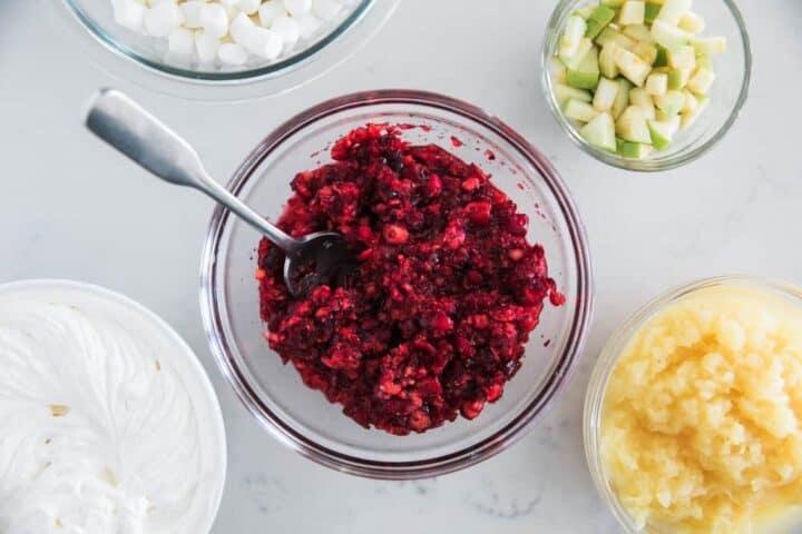 cranberry salad ingredients in bowls