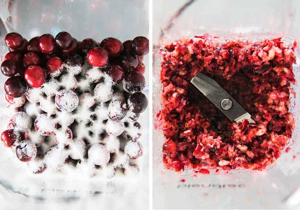 cranberries chopped in blender