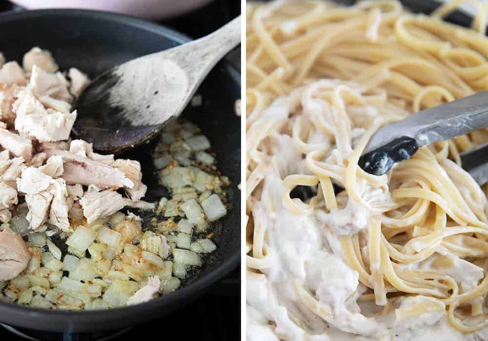 Making turkey tetrazzini in pan
