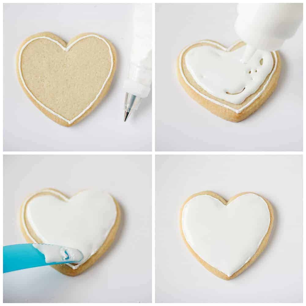 outlining and flooding sugar cookies with royal icing