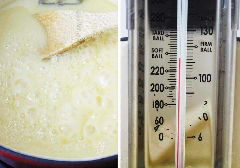 checking eggnog fudge temperature on a candy thermometer