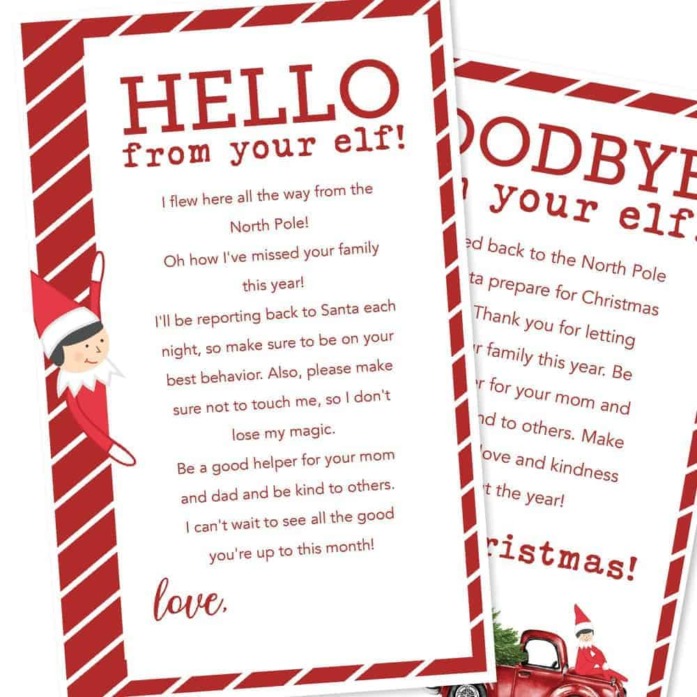Clean image for free printable elf on the shelf letter