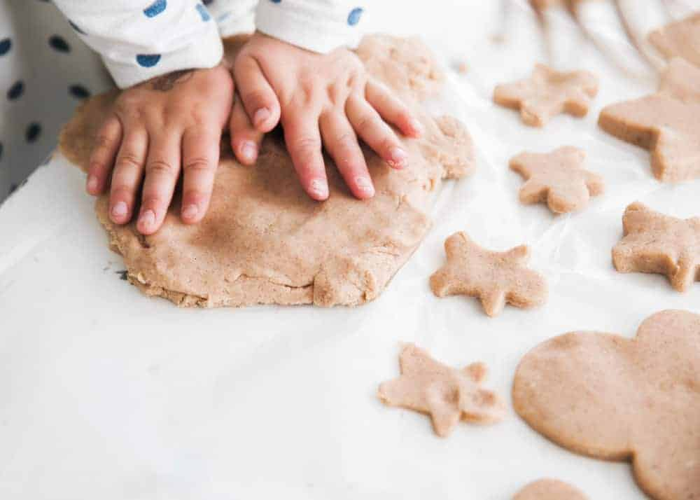 playing with gingerbread playdough