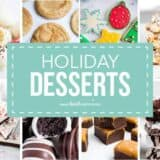 collage of holiday desserts