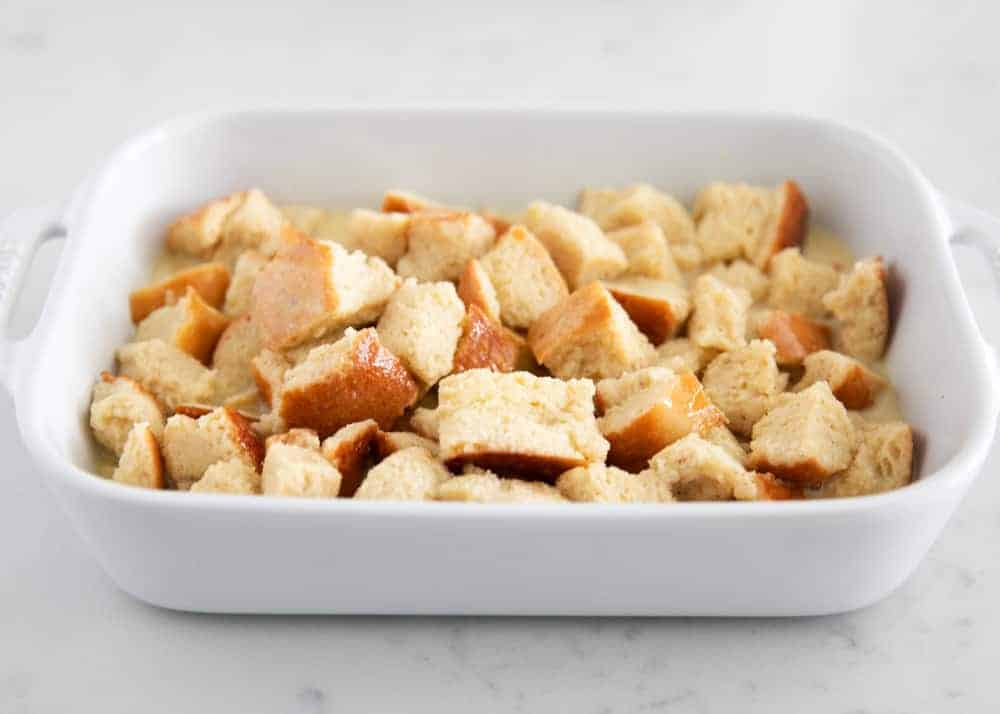 bread pudding a white baking dish