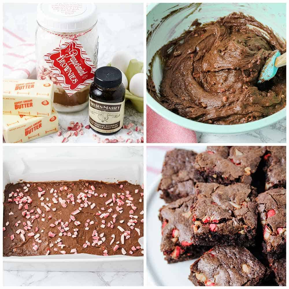 making peppermint brownies from a jar mix