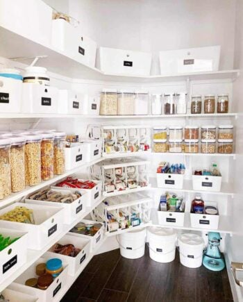 Pantry with organized shelves