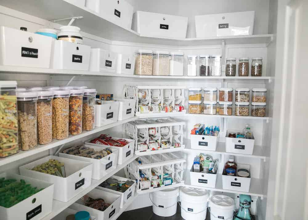 pantry shelves with bins