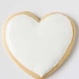 heart sugar cookie with white icing on top