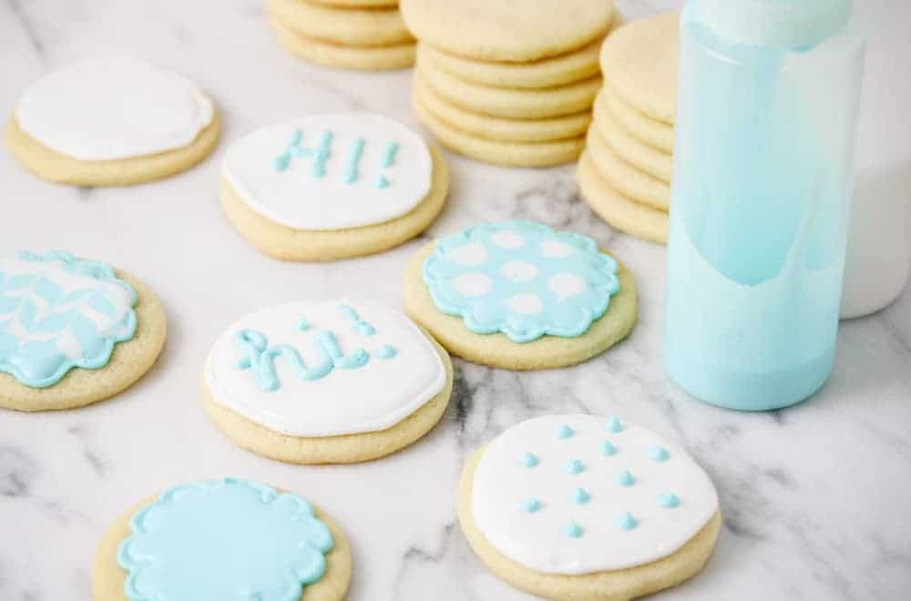 sugar cookies with white and blue icing