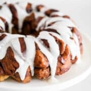 cinnamon roll monkey bread on cake stand