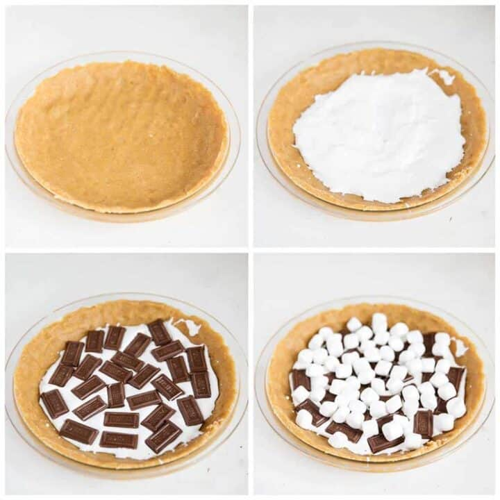 assembling smores pie