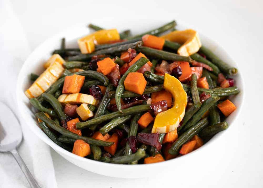 maple roasted vegetables in white bowl