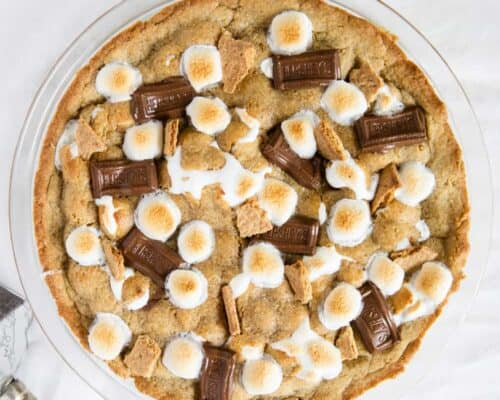 smores pie in glass dish