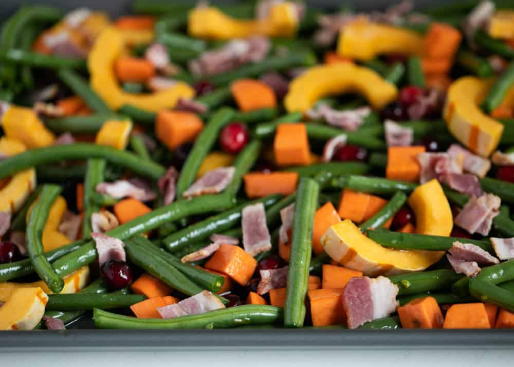 vegetables on pan with bacon