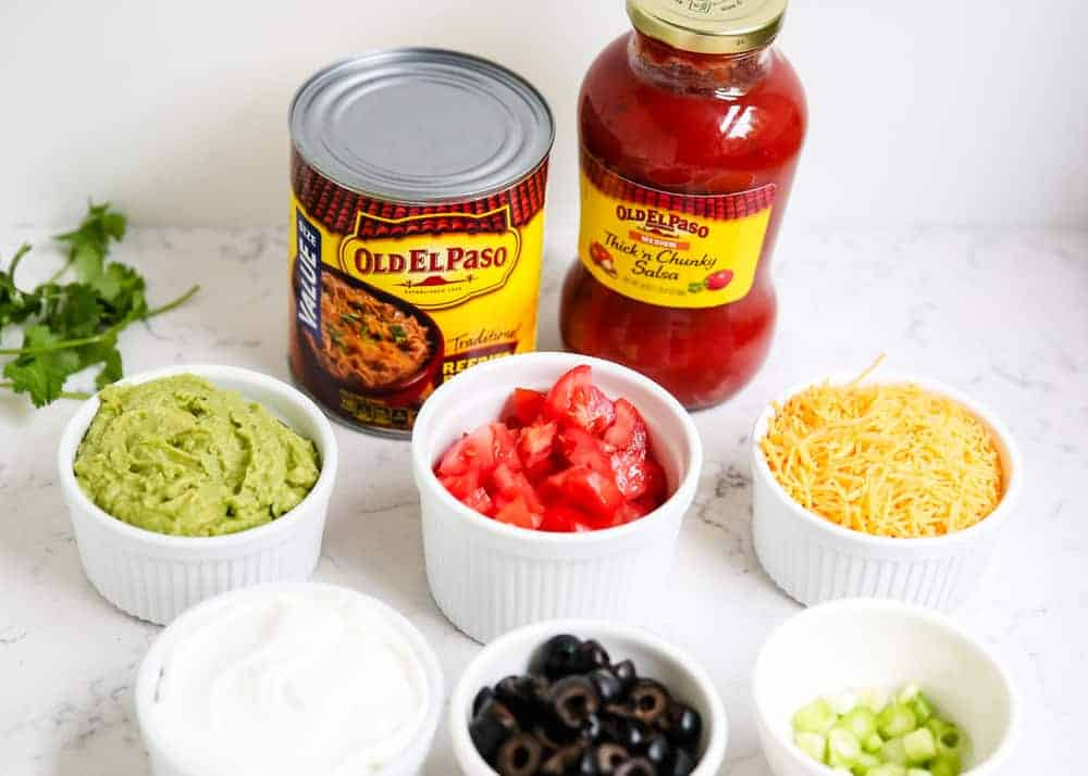 ingredients for 7 layer dip on counter