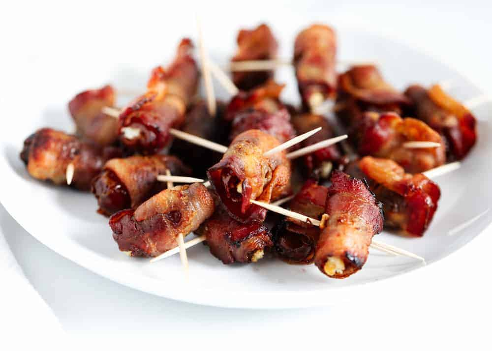 bacon wrapped dates with toothpick
