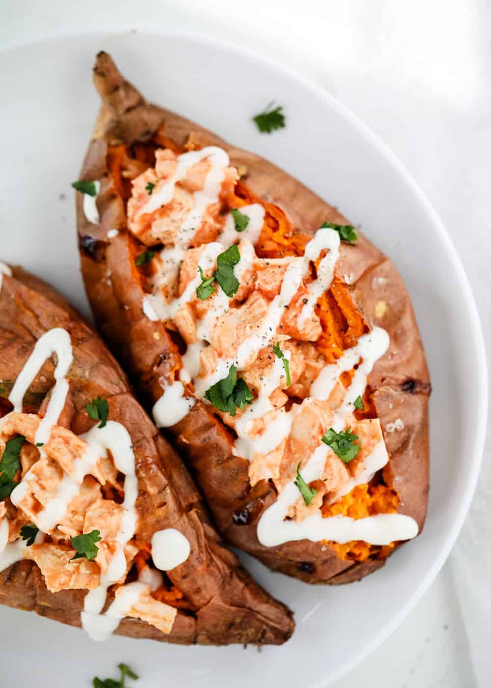 buffalo chicken stuffed sweet potato with ranch
