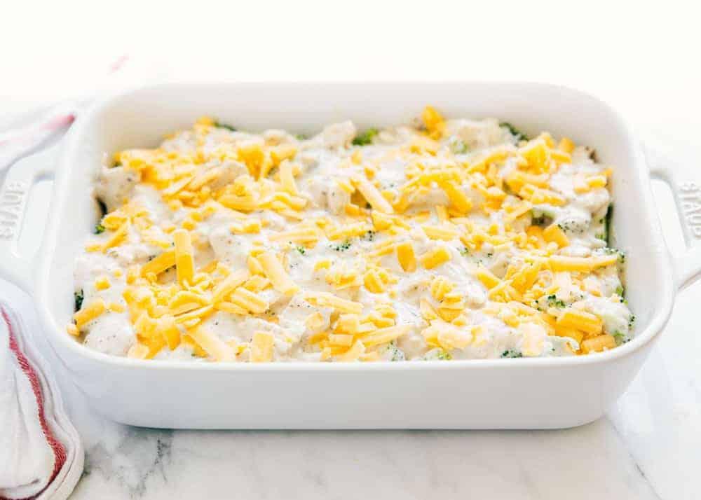 chicken broccoli rice casserole in white dish