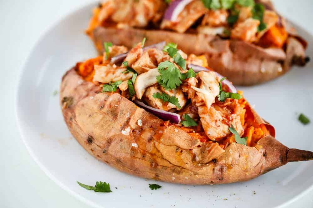 bbq chicken stuffed sweet potato