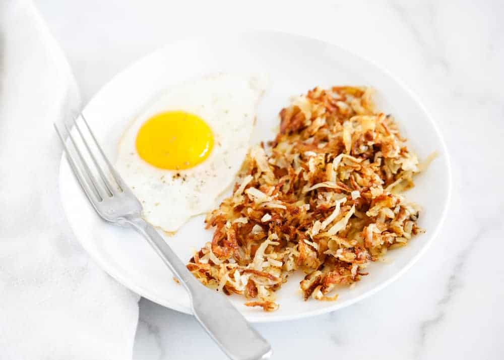 hash browns with a fried egg