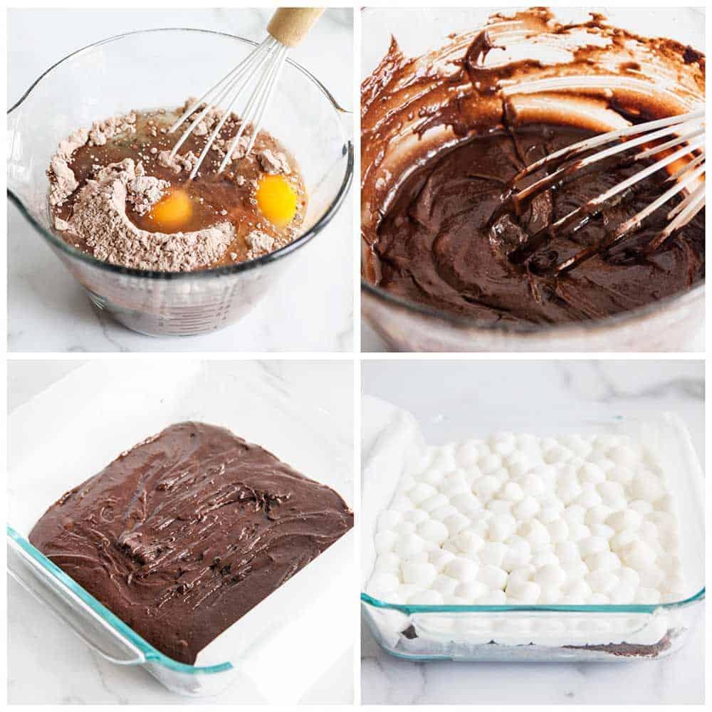 making marshmallow brownies