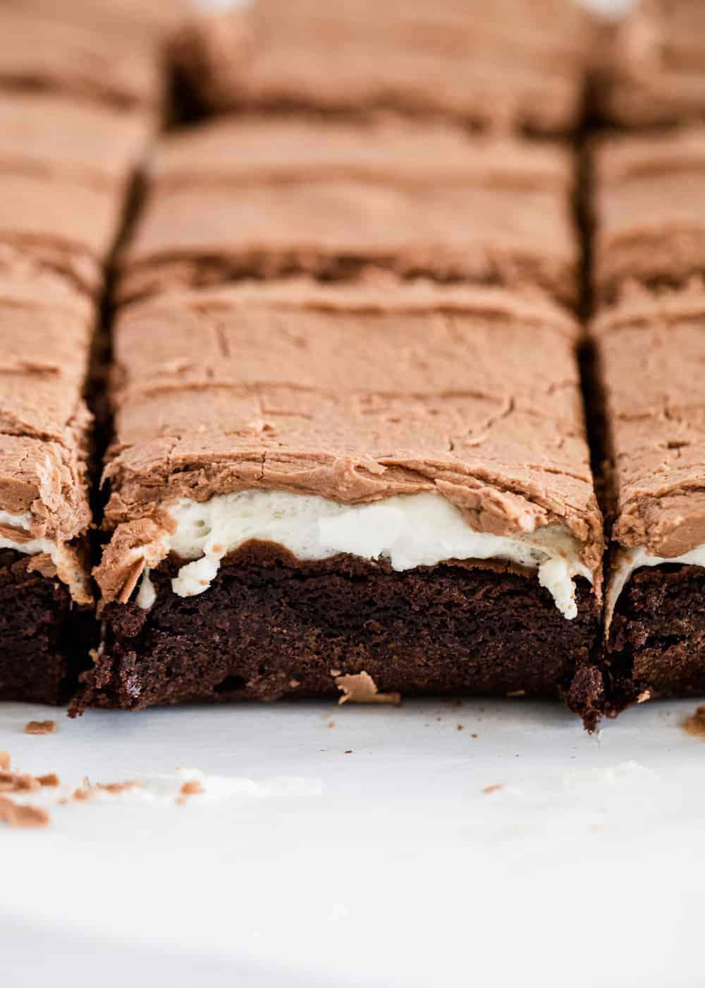 cut marshmallow brownies