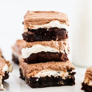 stacked marshmallow brownies